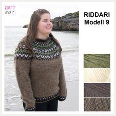 Riddari Modell 9 Bestselgeren Riddari strikkes i Léttlopi. Finnes i størrelse XS, S, M, L, XL og XXL. Overvidde: Ca 89 | 93 | 98 | 102 | 107 | 111 cm Lengde til ermhull: Ca 40 | 42 | 43 | 44 | 45 | 46 cm Ermlengde til ermhull: Ca 47 | 49 | 50 | 51 | 52 | 53 cm