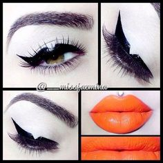 Winged liner with orange lips Scary Makeup, Glam Makeup, Pretty Makeup, Beauty Makeup, Makeup Looks, Eye Makeup, Hair Makeup, Horror Makeup, Makeup Pro