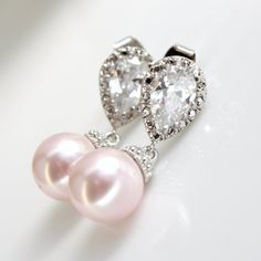 Blush Pink Wedding Pearl Earrings Crystal Pearl by poetryjewelry