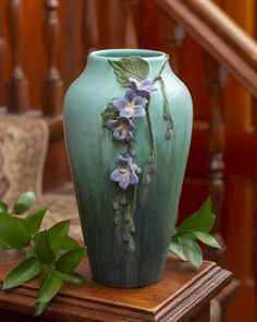 Skyflower Ceramic Pottery Vase - Ephraim Pottery - - When several Ephraim artists travelled to Costa Rica, they were struck by the bright blue color of the skyflower, which inspired this hand-sculpted vessel. Ceramics Pottery Mugs, Pottery Teapots, Raku Pottery, Antique Pottery, Pottery Sculpture, Pottery Bowls, Handmade Pottery, Thrown Pottery, Slab Pottery