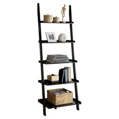 Found it at Wayfair - Quint 5 Tier Ladder Bookshelf in Black Ladder Shelving Unit, Ladder Bookshelf, Open Shelving, Bookshelves, Ladder Display, Shelf Bins, Storage Shelves, Cozy Reading Corners, Contemporary Bookcase