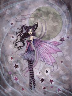 Purple Passion Gothic Fairy Fantasy Art Print by Molly Harrison Fairies Fae Moon Fantasy Kunst, Fantasy Art, Fairy Dust, Fairy Tales, Magic Fairy, Fairy Land, Tinkerbell, Dragons, Kobold