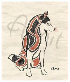 It's like tribal art of my Riker! https://www.etsy.com/listing/49627088/northwest-style-siberian-husky