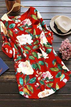 A| Cotton Floral Short Sleeve Shift Dress-Cheap Casual Dresses | Chicloth Plus Size Autumn Dresses, Dress Plus Size, Summer Dresses For Women, Dress Summer, Casual Party Dresses, Dress Casual, Casual Outfits, Mini Shirt Dress, Short Dresses