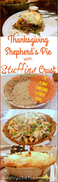 This Thanksgiving Shepherd's Pie with Stuffing Crust is a great way to use up your Thanksgiving leftovers, but it's also delicious enough to make as a meal all on its own. Thanksgiving comfort food and a recipe to use up those leftovers. You can't lose!   (thanksgiving baking holidays)