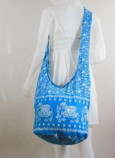dfc974926 Items similar to USA SHIPPING**Deep sky Blue Cotton Printed Standing  Elephants Crossbody Shoulder Hippie Boho Hobo Messenger Bag on Etsy