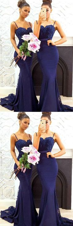 Charming Mermaid Spaghetti Straps Satin Long Prom/Bridesmaid Dress with Lace#fashion #style #promdress #dress