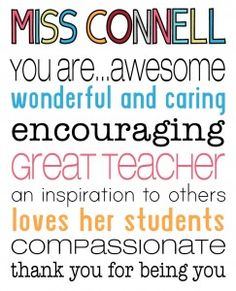 """{The Organised Housewife} Teacher Poster Thank you crop  This should be """"Mrs. Wanda Connell"""" an awesome teacher, wife, mother, and friend."""