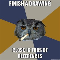 The perfect ref. pic doesn't exist, so we have to use lots of different ones. #artistproblems