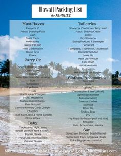 FREE Printable Packing List . . . Everything you need to pack or a Family Vacation in Hawaii. . . . Find more great Family Travel Tips at >>> www.GlobalMunchkins.com Best Summer Vacations, Best Family Vacations, Hawaii Vacation, Cruise Vacation, Vacation Destinations, Vacation Spots, Family Travel, Hawaii Hawaii, Vacation List