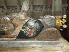 The funeral effigy of Ambrose Dudley, Earl of Warwick, wearing the state robes of the Most Noble Order of the Garter.