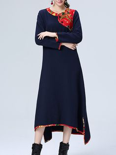 Sale 20% (34.39$) - Ethnic Patchwork Long Sleeve Loose Women Cotton Maxi Dress