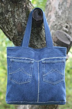 Bag of recycled jeans. Denim bag over the shoulder. Hobo bag with lining. Vegan bag of jeans. Tote bag denim Perfect denim tote bag for daily use, made of recycled denim. Denim gift bag by touchofdenim on etsy – Artofit Upcycling Bag from Old Denim - Sa Big Tote Bags, Denim Tote Bags, Denim Purse, Purses And Bags, Bag Jeans, Jeans Denim, Ripped Denim, Denim Crafts, Denim Shoulder Bags