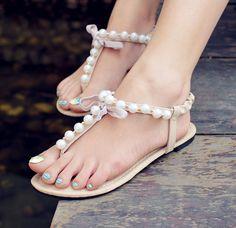 2014 open toe summer fresh pearl sandals rhinestone flat sandals flats shoes for women US $14.90