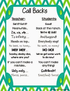 Using Call Backs After Spring Break (FREEBIE!)-Using Call Backs After Spring Break (FREEBIE!) FREE Call Backs and attention getters for the kindergarten classroom! New Classroom, Classroom Activities, Kindergarten Classroom Organization, Classroom Cheers, Year 3 Classroom Ideas, Elementary Classroom Themes, Kindergarten Classroom Setup, Classroom Job Chart, Preschool Behavior