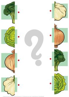 Match Halves of Vegetables Worksheet Preschool Homework, Preschool Activity Books, Fun Activities For Toddlers, Preschool Colors, Preschool Learning Activities, Free Preschool, Preschool Curriculum, Shape Worksheets For Preschool, Body Parts Preschool
