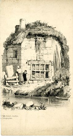 Recto A woman and child standing at a wooden gate at the left corner of a thatched cottage with a hay loft; a stream flowing in foreground. Lithograph Reproduced by permission of the artist. © The Trustees of the British Museum Ink Pen Drawings, Cool Drawings, Drawing Sketches, Landscape Sketch, Landscape Drawings, Building Sketch, Poses References, Drawing Techniques, Drawing Tutorials