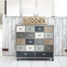 Cabinet de rangement à roulettes en bois gris L 85 cm Odéon