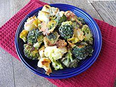 Oven Fried Parmesan Broccoli & Cauliflower sugarfreemom.com