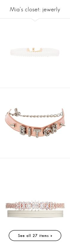 """""""Mia's closet: jewerly"""" by grlpwr-official ❤ liked on Polyvore featuring jewelry, necklaces, accessories, ribbon choker necklace, ribbon choker, choker necklace, lace necklace, vanessa mooney jewelry, choker and pink"""