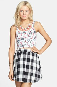 Everly Plaid Linen Blend Skirt (Juniors) available at #Nordstrom