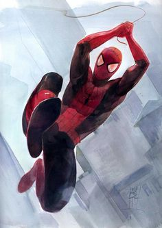 #Spiderman #Fan #Art. Spider-man in watercolors) By: Alex Maleev. (THE * 5 * STÅR * ÅWARD * OF: * AW YEAH, IT'S MAJOR ÅWESOMENESS!!!™)[THANK Ü 4 PINNING!!!<·><]<©>ÅÅÅ+(OB4E)