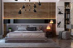 Cinza, preto e dourado no quarto de casal
