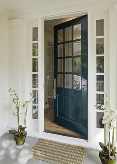 Hunter green door with white sidelights, almost craftsman style