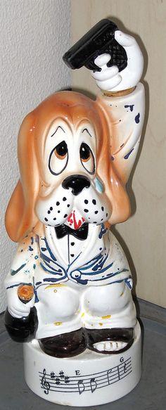 Sad Suicide Dog Vintage 1950s Musical Liquor Decanter Bottle