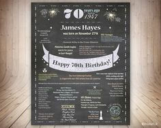 UK 70th Birthday Gift for Dad, 70th Birthday Poster UK Facts, Chalkboard 70th Birthday Sign,70 Years ago Born in 1947,Birthday Sign UK by invitefull on Etsy