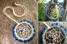 Handmade Blue Bead Dreamcatcher With Natural Rope Home Decor / Wedding ...