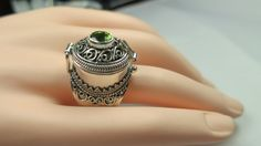 Peridot poison ring in sterling silver Peridot Engagement Rings, Poison Ring, Unique Rings, Class Ring, Gemstone Rings, Pendants, Rainbow, Jewels, Sterling Silver