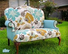 My Mom and I picked out this fabric to redo this settee we found... its even featured on a before/after blog!