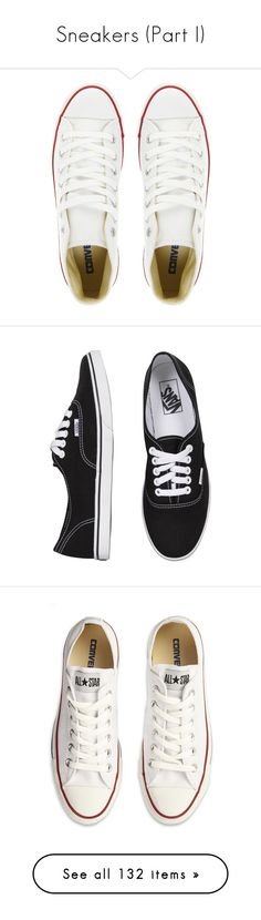 """""""Sneakers (Part I)"""" by plnzh ❤ liked on Polyvore featuring shoes, sneakers, converse, chaussures, black, round toe shoes, black trainers, kohl shoes, converse trainers and black low tops"""