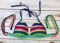 NWT Aerie Perky Triangle Bikini Swimsuit Top Size Medium Multicolor Stripes NEW    eBay