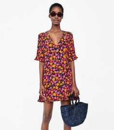 Zara Crossover Dress With Floral Print