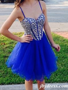 Sweetheart Neck Short Blue Prom Dresses, Short Graduation Dresses, Blue Homecoming Dresses