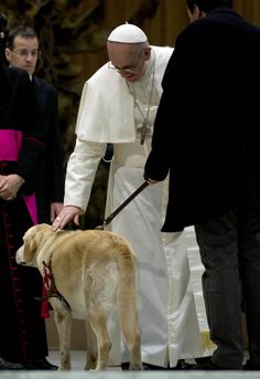 Pope Francis pats the guide dog of a guest during a meeting with the media at the Pope VI hall in Vatican City, Saturday, March 16, 2013. (AP Photo/Domenico Stinellis)