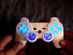 Custom White PS3 Controller with all clear buttons and Cyan LED!