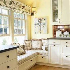 Seat Ideas L-Shape Window Seat Fill a sunny kitchen corner with ample seating for friends or family. A thick cushion and overstuffed pillows add a soft touch and living-room comfort to a hardworking kitchen.L-Shape Window Seat Fill a sunny kitchen corner Window Seat Kitchen, Corner Seating, Corner Nook, Corner Banquette, Corner Bench, Corner Storage, Small Corner, Corner Shelf, Coffee Corner