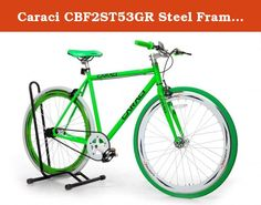 Caraci CBF2ST53GR Steel Frame Fixed Gear Bike, Green, 53cm. Frame: 700C, Steel, 53cm; Fork: Steel; Handlebars: Steel; Stem: Steel; Crankset: 48T x 170mm/Alloy; Hub: 14G x 32H/Alloy; Bearing Type: Sealed; Spoke: Steel Bladed; Tires: 700C x 35mm; G.W.: 38 lbs.; N.W.: 29 lbs.; Available Color: Black, Blue, Orange, Red, Pink, Yellow. Caraci Bicycles is a new company with a great product. Specializing in fixed gear bikes they offer tons of colors and frame styles. Not to mention very unique...