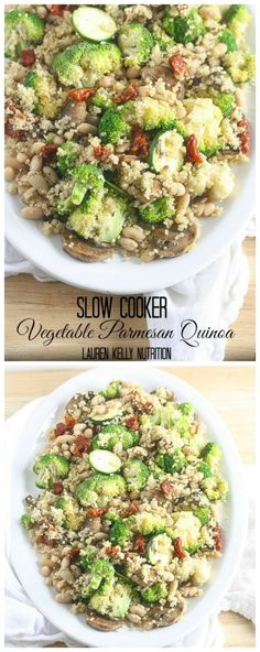 Vegetable Parmesan Quinoa in the Slow Cooker from Lauren Kelly Nutrition sounds delicious for a meatless main dish or a veggie-loaded side dish! [featured on SlowCookerFromScr...]