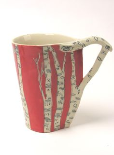 Leaf Shaped Birch Trees Mug - Red eclectic dinnerware Pottery Mugs, Ceramic Pottery, Ceramic Cups, Ceramic Art, Eclectic Dinnerware, Coffee Cups, Tea Cups, Sculptures Céramiques, Bohemian House