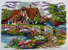 Hobby Lobby Projects Tutorials - Hobby Room Table - Hobby Lobby Wall Art Living Room - Different Hobby To Try Cross Stitch House, Cross Stitch Borders, Cross Stitch Charts, Cross Stitch Designs, Cross Stitching, Cross Stitch Patterns, Ribbon Embroidery, Embroidery Art, Cross Stitch Embroidery