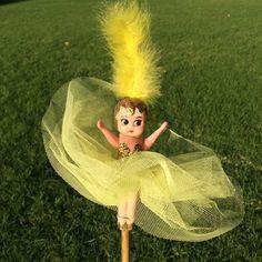 Gloria - Kewpie Doll with Gold Glitter Bodice, Lemon Plain Tulle Tutu and Yellow Show Girl style feathered headdress. An Original Kewpie Creation from 1950.