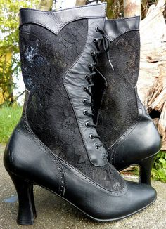 LEATHER and LACE  Victorian Goth Lace Up Boots by CoralLaceVintage, $89.00