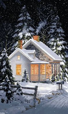 """Cozy winter home // If you click the """"GIF"""" button, the snow falls! Winter Pictures, Christmas Pictures, Christmas Art, Vintage Christmas, Winter Christmas Scenes, Cabin Christmas, Christmas Kitchen, Winter Szenen, Winter Magic"""