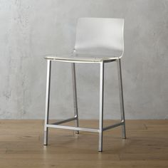 """Shop vapor 24"""" acrylic counter stool.   Out of thin air.  No fabric, no leather, just one clean swoop of clear, thick acrylic exposing architectural chrome plated square steel frame.  Formfitting curves in all the right places.  Clearly works with any room."""