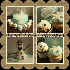Frozen themed cake and Olaf cupcakes