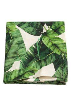 Mantel de algodón con palmeras - Blanco natural/Verde oscuro - HOME   H&M ES